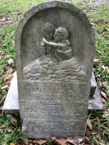 The shared marker for Willie and Mary Isabel Bettencourt Mary's death notice in the Wilmington Journal stated that she was the only child of