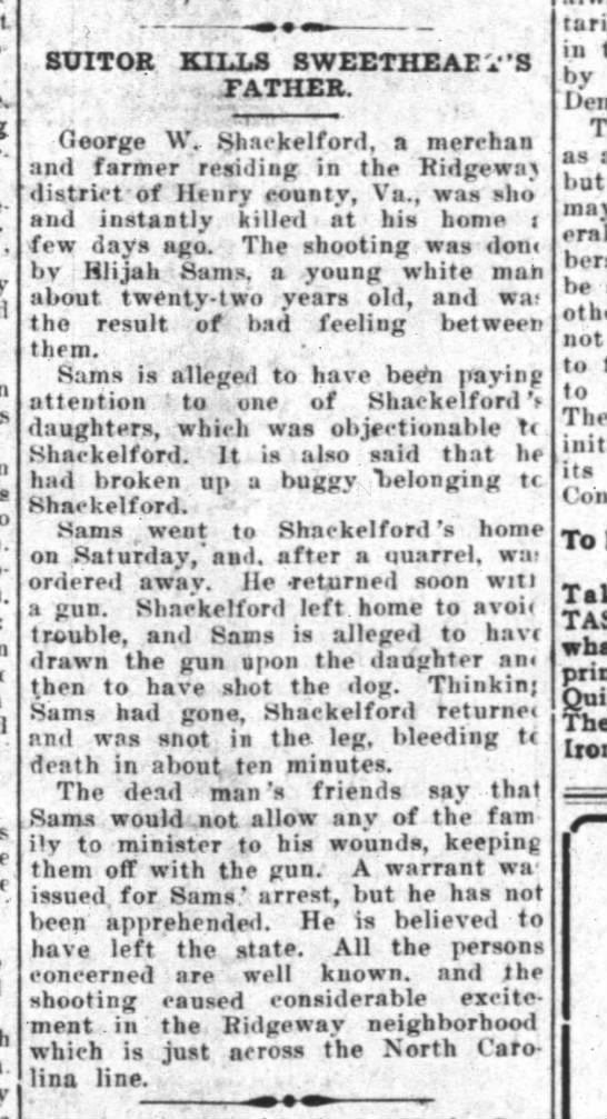 shackelford The Union Republican (Winston-Salem) 2 Sept 1915