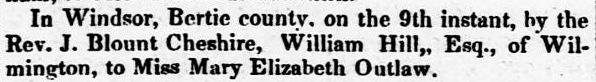 hill marriage The North-Carolina standard., January 23, 1850